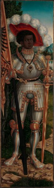 Lucas Cranach the Elder and Workshop (German, Kronach 1472–1553 Weimar) Saint Maurice, ca. 1520–25 Oil on wood; 54 x 15 1/2 in. (137.2 x 39.4 cm) The Metropolitan Museum of Art, New York, Bequest of Eva F. Kollsman, 2005 (2006.469) http://www.metmuseum.org/Collections/search-the-collections/439081